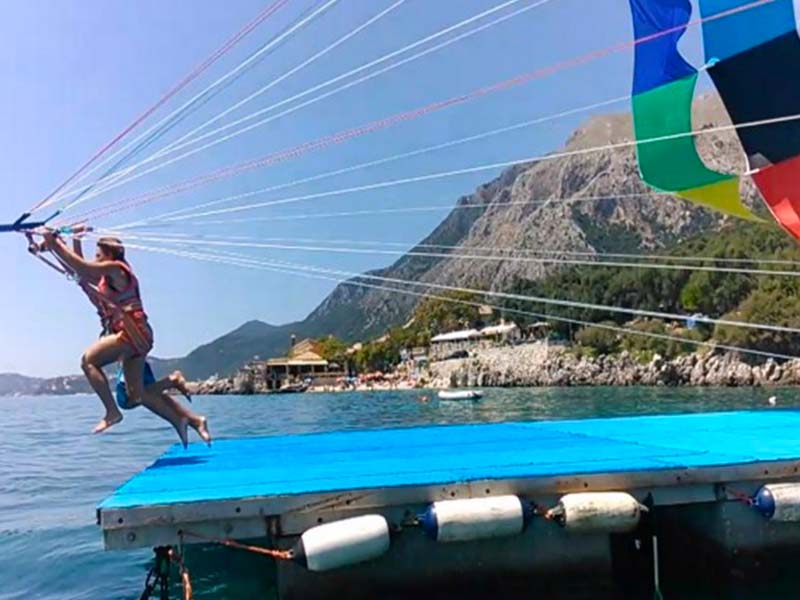 Water sports in Kalami Bay, Corfu